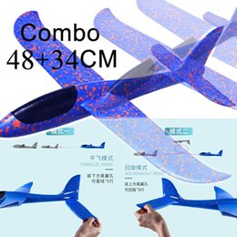 model aircraft carriers Australia - 2PCS 34+48CM Hand Throw Flying Glider Planes Toys For Children Foam Airplane Model Fillers Flying Glider Plane Out Door