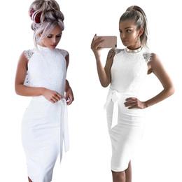 $enCountryForm.capitalKeyWord Australia - 2019 Sleeveless Lace Dress Women Fashion Solid White Slim Package Hip Women Clothing Elegant Office Vintage Pencil Dresses