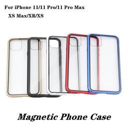 aluminum phone case wholesale UK - Magnetic Adsorption Phone Case For iPhone 11 Pro Max XS MAX XR X 8 7 With Aluminum Alloy Frame Tempered Glass Back Cover