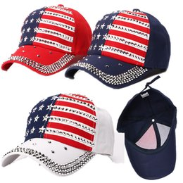 $enCountryForm.capitalKeyWord Australia - US Flag Star Baseball Cap Trump Election President Hats Net Cap Rivet Diamond Bling Sports Ball Hat Spring Summer Sun Hat Cool Style C71101