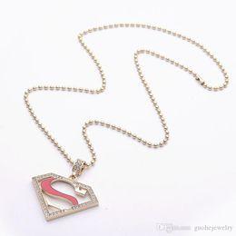 $enCountryForm.capitalKeyWord Canada - Hot sell pendant necklaces Superman logo letter S necklaces alloy diamonds necklaces free shipping