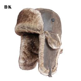 a3be5ed44ed00 Bomber Hats Faux Rabbit Fur Russian Ushanka Vintage PU Leather Earflap Aviator  Trapper Men Women Winter Warm Snow Ski Cap D19011503
