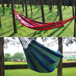 garden bags 2019 - 280x80cm Outdoor Picnic Garden Hammock Hanging Bed Double Spreader BED Travel Camping Swing Canvas Stripe Hammocks Sleep