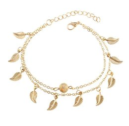 Wholesale Silver Gold Double Layer Tassel Leaf Anklets Bracelets Beach Foot Chain Fashion Jewelry for Women Epacket ship