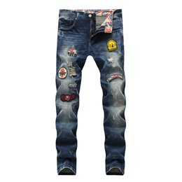 $enCountryForm.capitalKeyWord NZ - Jeans men 2019 spring skinny jeans men ripped for mens joggers distressed biker patches mid waist straight full length