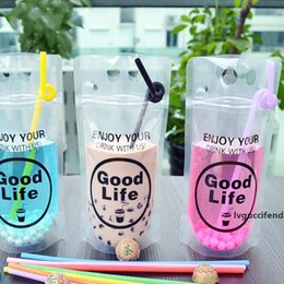 tea bag pouches UK - Clear Plastic Drinking Bag Juice Milk Tea Coffee Packaging Pouch Beverage Juice Coffee Bag Good Life Summer Beverage Pouches