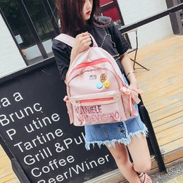 Zipper Brooches Australia - Sequins Letter Women Backpack Cartoon Smile Brooch Schoolbags For Teenage Girls Nylon 20-35 Litre High Capacity Student Backpack