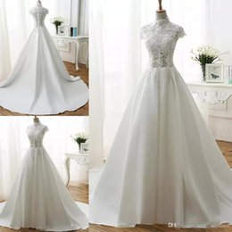 $enCountryForm.capitalKeyWord Australia - Simple A-line Wedding Dresses High Neck Short Sleeve Lace Top Bridal Gowns Satin Chapel Train White Plus Size Bridal Wedding Gowns
