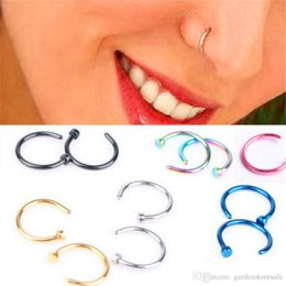 nostril nose ring piercing jewelry UK - Body Ring Fake Piercing Jewelry 5 Colors Women Nostril Nose Hoop Stainless Steel Nose Rings clip on nose Body Jewelry