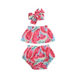 b1724b551c6 Emmababy Fashion Cute Newborn Kids Baby Girls Clothes Set Summer Romper  Watermelon Off Shoulder Outfits Clothes