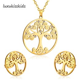 $enCountryForm.capitalKeyWord Australia - LUXUKISSKIDS Hot Sale Delicate Jewelry Sets Gold Color Christmas Tree Pendant Necklace Earring anti-allergy Necklace For Women