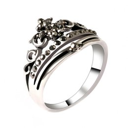 Wholesale Vintage Black Mosaic Crystal Ring Fashion Crown Color Silver Carved Ring Turkey Jewelry For Women Best Gift