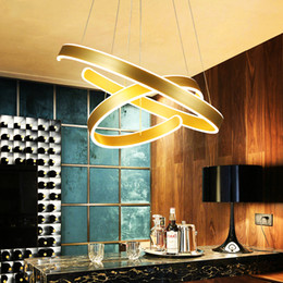 modern ceiling lights for dining room Canada - AC90-260V Modern pendant lights for living room dining room Geometry Circle Rings acrylic aluminum body LED Lighting ceiling Lamp
