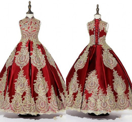 special gowns UK - Red Gold Appliques Beaded Girls Pageant Dresses 2019 High Neck Lace-up Ball Gown Special Occasion Dress Toddler Party Prom Communion Gowns