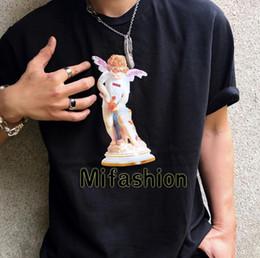 China 19ss USA Fashion High Quality Summer Box Logo Cupid Angel Statue Tee Skateboard Mens designer t shirt Women Street Luxury Casual T-shirt suppliers