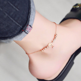 $enCountryForm.capitalKeyWord Australia - Smiley Face Ankle Bracelets Tassel Foot Chain Crystal Round Beads Chain Anklet Fashion Design Women Jewelry Hot Sale
