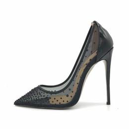 $enCountryForm.capitalKeyWord Australia - Casual Designer Sexy lady Black High Heels Wedding shoes womens pumps size 13 12 see through pointed toe ladies shoes