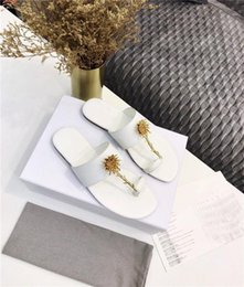 ladies white leather flip flops Australia - Summer 2020 gold rose flip-flop sandals ladies chic, sophisticated, casual, round-toed leather sandals slippers With Box Size 34-42