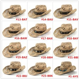handmade hats for men UK - 100% Straw Handmade Weave Womem Men Cowboy Hat For Summer Lady Western Cowgirl Sombrero Hombre Lifeguard Hats Size 56-58CM