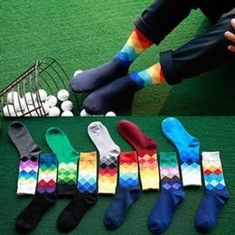 Venta al por mayor de 24 unids = 12 pares diseñador de la marca de alta calidad Happy Socks estilo británico calcetines a cuadros gradiente de color para hombre personalidad de la moda hombre calcetines de algodón