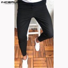 INCERUN Nova Moda Calças Dos Homens Corredores Botão Slim Fit Streetwear Calças Dos Homens de Negócios Sólidos Casuais Calças Lápis M-3XL venda por atacado