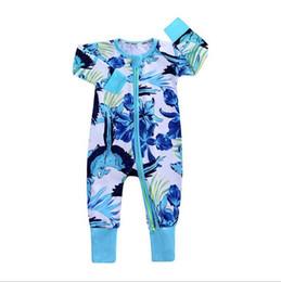 $enCountryForm.capitalKeyWord UK - Ins Baby Girl Boy Romper Clothes Rose Whale Leaf Print Jumpsuit For Newborn Kids Long Sleeve Zipper Cotton Jumper Costume Clothing 7166