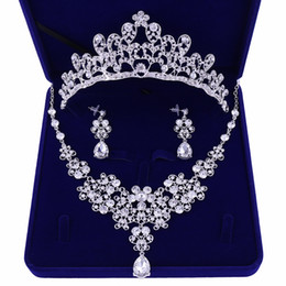 $enCountryForm.capitalKeyWord UK - 2019 Silver Plated Crystal Bridal Wedding Party Jewelry Set Tiara Crown Necklace Earrings for Brides Hair Jewelry Accessories