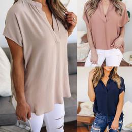 $enCountryForm.capitalKeyWord NZ - KANCOOLD tops high quality Ladies Chiffon V-Neck Solid Short Sleeve Casual Tops T-Shirt summer for women 2018 ap26