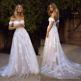 Wholesale sexy skirts shoulder straps for sale - Group buy Beautiful Country Boho Wedding Dresses Sexy Backless A Line Off Shoulder Appliqued Tulle Long Summer Bridal Gowns Bohemian BM1510