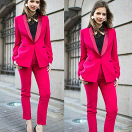 lady tuxedos NZ - Spring Hot Pink Mother of the Bride Suits Women Formal Party Evening Suits Slim Fit Work Ladies Office Tuxedos Guest Wedding Outfits