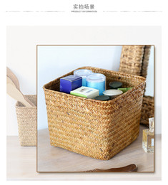 Japanese Box Set Australia - Straw woven square sundry basket Japanese woven storage box simple flowerpot set creative desktop storage basket