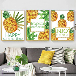 $enCountryForm.capitalKeyWord Australia - Gohipang Tropica Pineapple Happy Summer Time Canvas Art Painting Poster And Print Nature Wall Picture For Living Room Home Decor