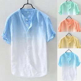 Discount mandarin collar shirts wholesale - Men's Summer Short Sleeve Shirt Cotton Summer Men's Cool And Thin Breathable Collar Hanging Dyed Gradient Cott