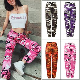 Camo trousers women online shopping - Women Camouflage Cargo Trousers Casual long Pants Army Combat pocket Camo Jeans Sexy Colorful Harajuku Hip Pop Camou Jeans LJJA2576
