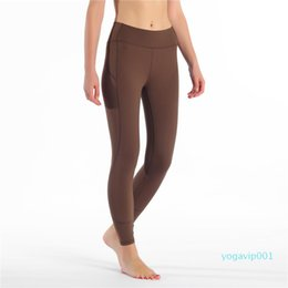 tight outfits Canada - Naked Material Yoga Pants High Waist Elastic Running Leggings Quick Dry Fitness Wear Yoga Outfits Ladies Brand Casual Tight