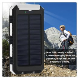 Solar Connectors Australia - Solar Powered Power Bank Waterproof Anti-skid Shockproof Dual USB Output Portable Solar Charger with Compass Pratical