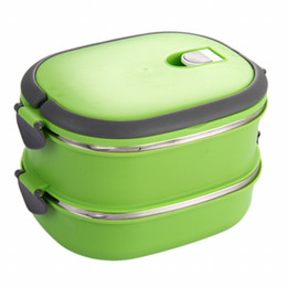 green box containers NZ - Insulated Lunch Box Stainless Steel Food Storage Container Thermo Server Essentials Thermal Double Layer Green