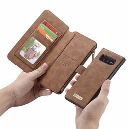 apple zipper bags UK - Luxury Vintage Leather Multifunctional Magnetic Detachable Zipper Wallet Case for Samsung S10 plus S9 S8 S7edge Note8 Note9 Fashion Flip bag