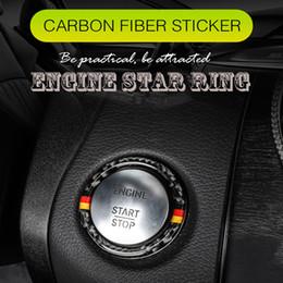 Carbon Engine Australia - For Mercedes C Class W205 E Class W213 GLC Car Engine Start Button Cover Ring Carbon Fiber Trim Interior Sticker Decal