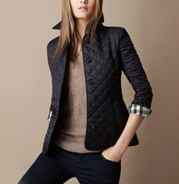 Wholesale quilting jackets for sale – winter New Women Jacket Winter Autumn Coat Brand Design fashion cotton Slim Jacket British Style Plaid Quilting Padded Parkas