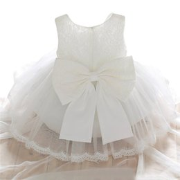 White Clothes For Baptism Australia - Newborn Baptism Dress For Baby White First Birthday Party Wear Cute Sleeveless Toddler Girl Christening Gown Clothes Q190518