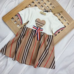 plaid bow dress Canada - childrens foreign princess love plaid dress girls Plaid khaki bow Bur short-sleeved girls skirt clothes dresses