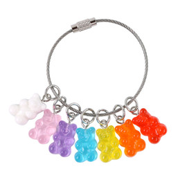 $enCountryForm.capitalKeyWord Australia - Cute Cartoon Colorful Candy Bear Keychain Fashion Steel Wire Key Chain Women Girl Bag Charm Pendant Keyring Jewelry