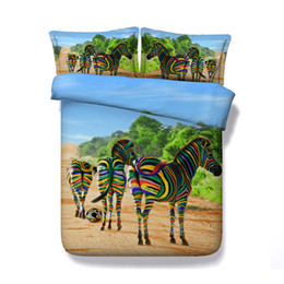 zebra print bedding Australia - 3D Striped zebra Print Duvet Cover Set Bedding with pillowcase, Microfiber Quilt Cover, Zipper Closure