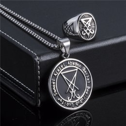 $enCountryForm.capitalKeyWord NZ - Elfasio Jewelry Set Lucifer Ring Necklace Set Baphomet Goat Pentagram Satan Symbol Stainless Steel Both Sided Pendant C