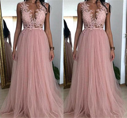 beaded bodice prom dresses Australia - 2019 New Pink A Line Tulle Prom Dresses Sheer Neck Lace Appliques Illusion Bodices Cheap Formal Party Evening Gowns Custom Made