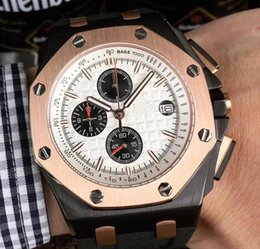 Imported batterIes online shopping - High quality men s watch MM multi function dial high quality Japan imported quartz chronograph original strap wrist watch