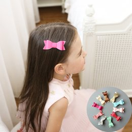 Synthetic Bow Hair Clips Australia - Girls Hair Bowknot Hair Clips Solid Color Synthetic Leather Barrettes Hair Bow Knot Clip 13 styles LJJW230
