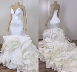 Wholesale Cascading Ruffles Organza Mermaid Wedding Dresses Sexy Backless Sweetheart Long Train Bridal Wedding Gowns Custom Made 2020