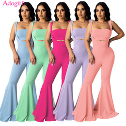 Wholesale tube top pants for sale – designer Adogirl New Summer Women Casual Two Piece Set Tube Top Spaghetti Straps Flare Jumpsuit Strapless Crop Top Foot Cut Pants T200528